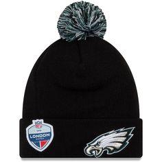 c0bfe97e2 Philadelphia Eagles New Era Union Jack Bobble Cuffed Knit Hat with Pom -  Black