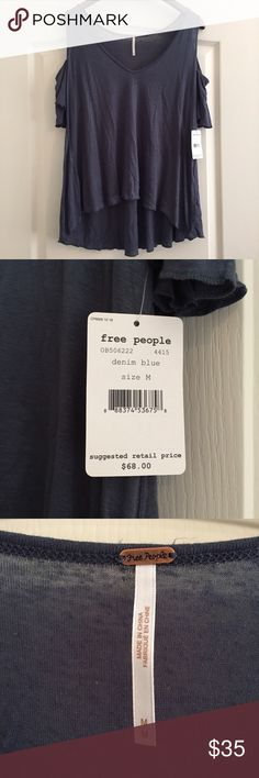 Free People Cold Shoulder Top New with tags. Size medium. Dark blue/green color. [Willing to trade] Free People Tops