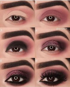 Eye Make-up Tutorial Step By Step Wine Red Originality makeup step by step makeup tutorial makeup natural makeup ideas Makeup Tutorial Step By Step, Makeup Tutorial For Beginners, Eye Tutorial, Black Eyeshadow Tutorial, Beginner Makeup, Black Makeup Tutorial, Smokey Eye Makeup Tutorial, Makeup Hacks, Makeup Trends