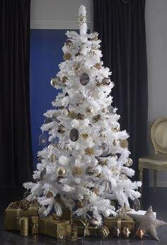 Thème 1 : Un Noël en or ! Sapin synthétique blanc, décorations de ...