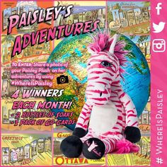Get your very own plush Paisley! Then take pictures with her on vacation, at a sports event, dressed for a holiday, having a bbq, where ever you take her. Post the pic in a public post on your Facebook page with the hashtag of Whereispaisley and you will be entered into the contest. Post has to be set as public and hashtag must be in description to be entered. 4 winners chosen every month! Go to: pinkzebrahome.com/sprinklesafari click -- Shop, Just Add Soaks, Woolies -- to order yours today.