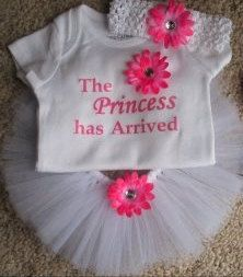 The Princess has Arrived Newborn Tutu Set & Matching Flower Headband BABYSHOWER GIFT via Etsy