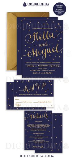 Elegant modern navy & gold confetti wedding invitations in a 3 piece suite including RSVP reply card and Details / Info enclosure card. Coordinating backers, gold glitter confetti sparkle details. Color envelopes, envelope liners and belly bands also available. digibuddha.com