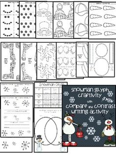 SNOWMAN GLYPH CRAFTIVITY$ WITH COMPARE & CONTRAST WRITING ACTIVITY