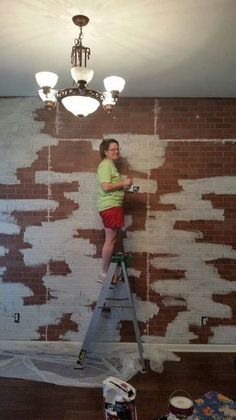 faux brick wall, diy, wall decor-- mountain peak painting technique was the way to go to avoid it looking painted in blocks. Used homemade chalk paint, Brick Veneer Panels, Faux Brick Panels, Brick Paneling, Paneling Painted, Faux Panel Wall, Painted Brick Walls, Fake Brick Wall, Brick Wall Decor, Brick Accent Walls