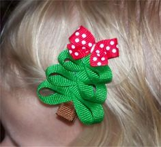 Christmas tree hair bow