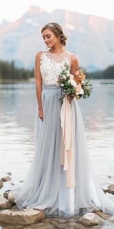 Today many brides prefer colored wedding dresses instead of white bridal gowns. Because wedding day is one of the most important and they want to remember. Blue Wedding Gowns, White Bridal Dresses, Wedding Dress Trends, Sexy Wedding Dresses, Colored Wedding Dresses, Cheap Wedding Dress, Bridal Gowns, Different Color Wedding Dresses, Budget Wedding Dress