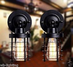 Black Metal Cage Industrial Vintage Retro Wall Lamp Adjustable Lighting Fixture
