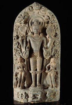 Vishnu Vasudeva Shri/Lakshmi - Pushti/Sarasvati Provenance exacte inconnue (Bengale?) Schiste noir XIIème siècle Musée Guimet Musée Guimet