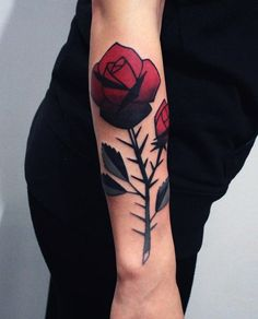 A prickly rose forearm tattoo - Some say thorns represent an idea of love that comes with sacrifices, others say roses tattooed with thorns is for people who don't pay much attention to outer beauty. What can be said for sure is that tattoo of roses with thorns shows less sensitivity and romance and looks wonderful in black and white shades.