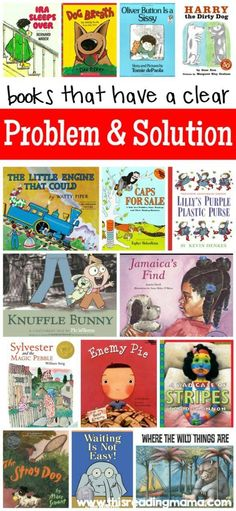 Books with a Clear Problem and Solution This book list features fiction texts that have a clear problem and solution structure to them. These books are perfect for teaching fiction comprehension and writing skills! Reading Strategies, Reading Activities, Reading Skills, Teaching Reading, Reading Comprehension, Writing Skills, Comprehension Strategies, Guided Reading, Shared Reading