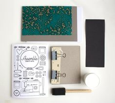 Assemble Crafting Kit: Hardcover Bookbinding in Turquoise Mums Lokta Paper. $40.00, via Etsy.