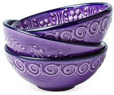 Hand-Painted Bowls, Purple