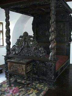 Antique Gothic bed very detailed carved bed canopy post dark wood...