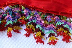 Turkısh Oya Trımmed Long Scarf / Shawl Red by Pllowcoversetc, $49.00