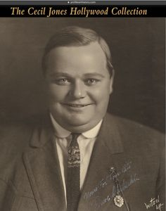 "Roscoe ""Fatty"" Arbuckle - Rare signed oversize master studio photograph by Witzel. (ca. 1920s). Vintage original gelatin silver 11 x 14 in. double-weight matte photograph by Witzel. Inscribed and signed by Arbuckle in white ink in the lower right of image, ""Yours for four-bits, Roscoe C. Arbuckle"". This is a master studio print generated for the printing of fan photos. This is the best signed Arbuckle that I have seen."