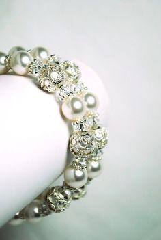 Filigree Bead Caps Bracelet Handmade Ivory by BGBJewelry, $45.00