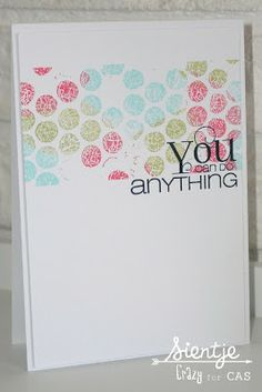 fun layout - mask off a section and use bkgr or repeat stamping, then add a sentiment