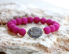 Matte Hot Pink Jade Bracelet with Silver Druzy Connector.