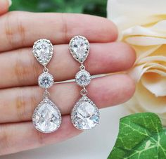Wedding Bridal Jewelry nuziale orecchini penzolare orecchini zirconi connettori e chiaro (LUX) cubic zirconia lacrima cadere regalo damigella d'onore on Etsy, 33,11€