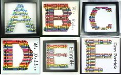 Crayon Letter Shadow Box Frame