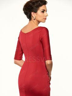Dresswe.com SUPPLIES Scoop Half Sleeves Sheath Short Mother Of The Bride Dress Mother Dresses 2017 (7)