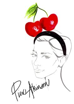 Piers Atkinson Cherry Headband by Louise O'Keeffe Hand Typography, O Keeffe, Print Design, Cherry, Portrait, Illustration, Artwork, Artist, Work Of Art