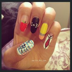Jen's long nails are a stunning canvas for her to show off a collared shirt and red tie.  Perhaps this set can be tailored to the uniform color of your own school, if your school requires formal attire, Back to School Nails, Fall Nails, Long Nails, Nail Designs, Nail Art, Nail It! Magazine