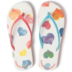 Little Miss Matched heart print Flip Flops, love these! #kids #accessories