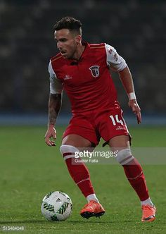 BragaÕs forward Aaron Niguez in action during the Primeira Liga match between Os Belenenses and SC Braga at Estadio do Restelo on March 13 2016 in. Fifa, Sc Braga, March, Action, Running, Sports, Premier League, Soccer, Pictures