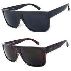 ff2fb87993 Details about Retro Square Frame Sunglasses Mens Womens Flat Top Square  Super Dark Lens