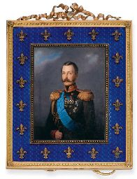 A VERY FINE BELLE EPOQUE BLUE ENAMEL AND GOLD PICTURE FRAME, BY FABERGÉ