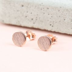 Round Textured Rose Gold Plated Sterling Silver Stud Earrings