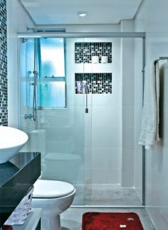 built in shower shelves