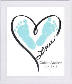 Heart Outline Footprint Wall Art 1200_pap por MyForeverPrints