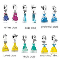 """""""New Disney Princess dress charms from Pandora will come out March in Disney Parks and Disney Pandora Bracelet, Pandora Charms Disney, Disney Jewelry, Pandora Bracelets, Pandora Jewelry, Mora Pandora, Jewelry Bracelets, Bangles, New Disney Princesses"""