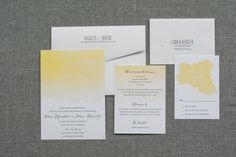 Yellow Watercolor Wedding Invitation, Watercolor Ombre Wedding Invitation Suite - Casual, Elegant, Bright - Custom Colors - Alex and John
