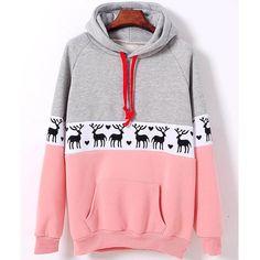 Fashion Christmas Deer Pullover Sweatshirt Hoodie Top Sweater