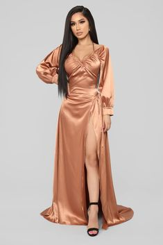 I Like Shinin' Maxi Dress - Bronze – Fashion Nova Backless Maxi Dresses, White Maxi Dresses, Satin Dresses, Sexy Dresses, Casual Dresses, Ladies Dresses, Gowns, Short Beach Dresses, Summer Dresses