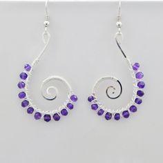 Amethyst Earrings Silver handmade fair trade USA Bazaars R Us