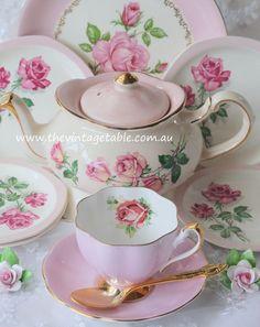 Vintage Shabby Pink Roses Tea Set
