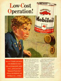 1940 Vintage Ad for Mobiloil Illustration by Frederick Stanley 070213D | eBay