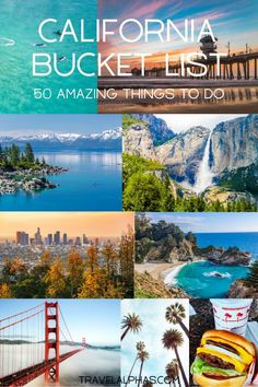This is the perfect travel guide for your next California vacation or road trip. From San Francisco, Los Angeles, and Sonoma County, to Laguna Beach and Lake Tahoe, here is the ultimate California bucket list. How many have you checked off? Laguna Beach, California Vacation, Visit California, California Lakes, California Travel Guide, California Living, California Coast, Northern California, San Francisco