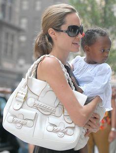 Angelina Jolie Style: Valentino Braided Leather Shoulder Bag
