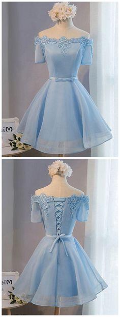 2017 A-LINE SHORT PROM DRSESS BLUE HOMECOMING DRESSES