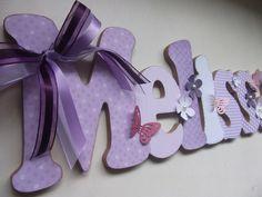 Nome em MDF decorado em scrap.    Pode ser utilizado em porta de maternidade, em quarto infantil, para decoração de festas, batizados, chá de bebê.    Fazemos nas cores e temas desejados. Consulte.