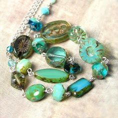 Turquoise Blue Necklace Blue Green Vintage Style by DorotaJewelry, $56.00