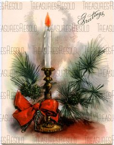Greetings Candlestick Pine Cone Christmas Card #287  Digital Download