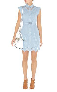 Pinstripe cotton broderie shirt dress