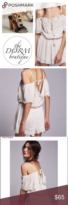 """🌼FREE PEOPLE ROMANCE 🌼🌼OFF THE SHOULDER ROMPER FREE PEOPLE ROMANCE ROMPER IS A EFFORTLESS SHORTS ROMPER THAT FEATURES BEAUTIFUL CROCHET TRIM WITH UNEVEN EDGES. OFF THE SHOULDER STYLE WITH AN ELASTIC NECKLINE AND STATEMENT BELL SLEEVES. FULLY LINED. NWT RETAIL 128.00.  THIS ROMER IS A TRUE IVORY. MEASUREMENTS: BUST 36"""" WAIST: 30"""" LENGTH: 26"""". I OPEN AND INSPECT EVERY ITEM. I TAKE SEVERAL PHOTOS. NO TRADE PLEASE. Free People Pants Jumpsuits & Rompers"""